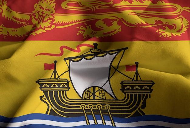 Closeup of ruffled new brunswick flag, new brunswick flag blowing in wind