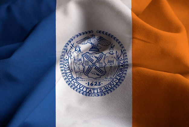 Closeup of ruffled new york city flag, new york city flag blowing in wind