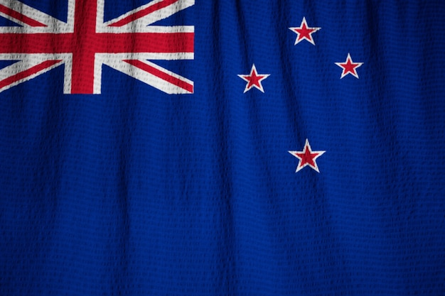 Closeup of ruffled new zealand flag, new zealand flag blowing in wind
