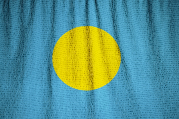 Closeup of ruffled palau flag, palau flag blowing in wind