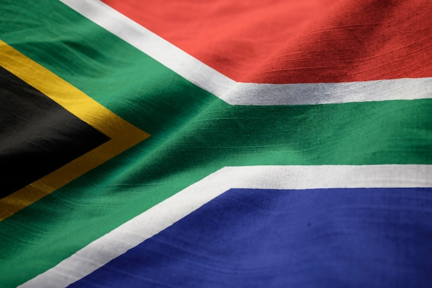 Closeup of ruffled south africa flag, south africa flag blowing in wind