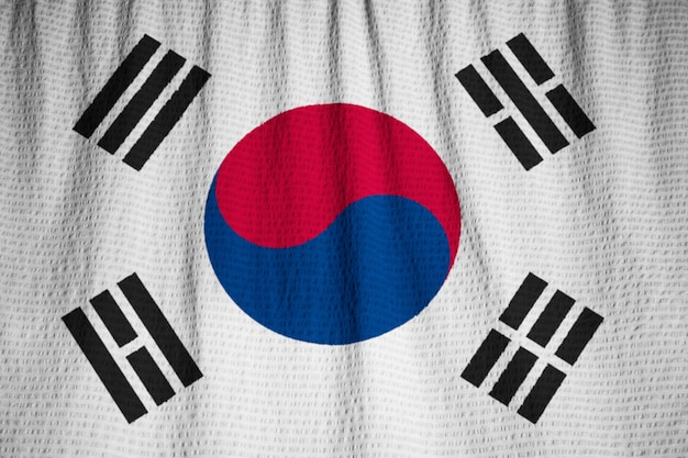 Closeup of ruffled south korea flag, south korea flag blowing in wind