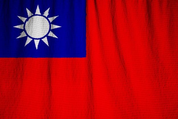 Closeup of ruffled taiwan flag, taiwan flag blowing in wind