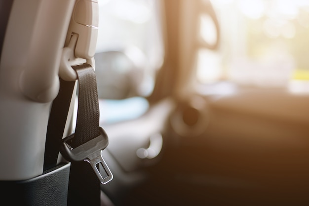 Closeup safety belt in car