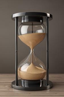 Песочные часы песка крупного плана на деревянном столе. 3d рендеринг