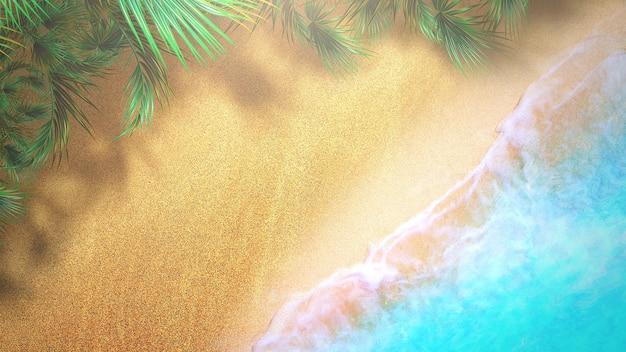 Песчаный пляж крупного плана с голубыми волнами океана, летним фоном. элегантный и роскошный стиль 3d иллюстрации