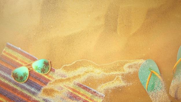 Песчаный пляж крупного плана с сандалиями и очками, летним фоном. элегантный и роскошный стиль 3d иллюстрации