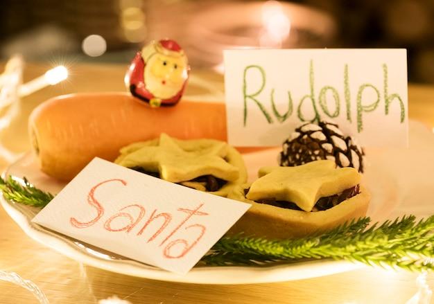 Closeup of santa claus cookies