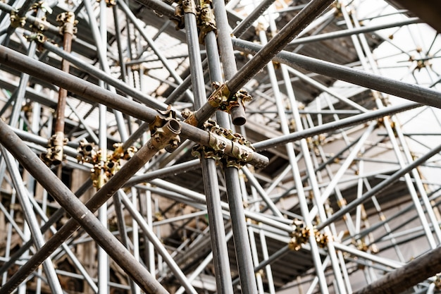 Closeup of scaffolding on the surface of the building bottom view
