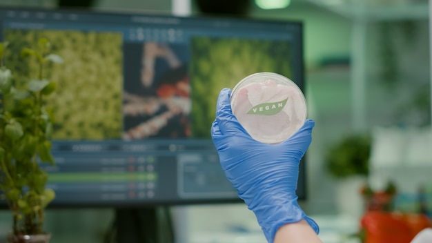 Closeup of scientist woman holding in hands petri dish with vegan beef meat
