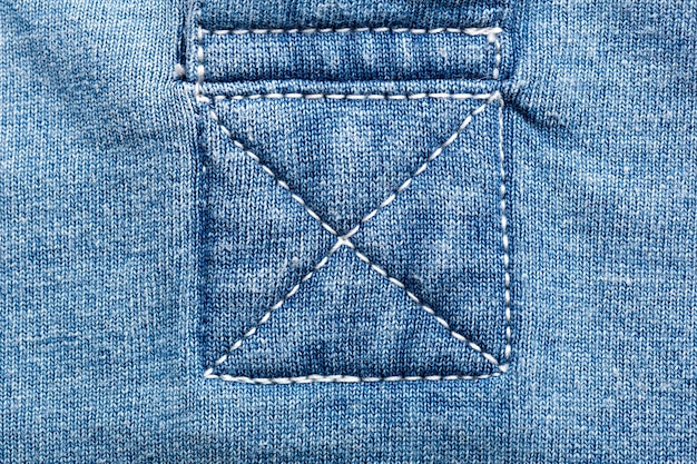 A closeup of seams on jeans fabric