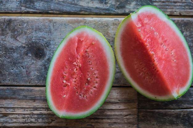 Closeup selective focus shot of sliced watermelon pieces