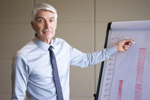 Closeup of senior expert explaining bar chart