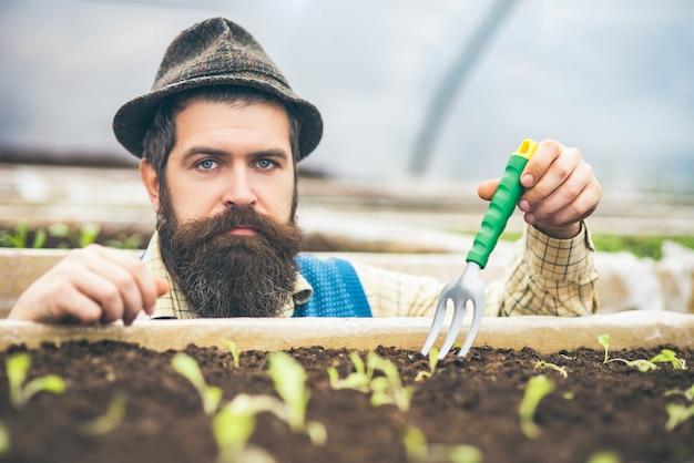 Closeup serious gardener in fedora hat planting seeds