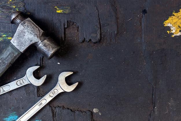 Closeup set of tools for motorbike repair background