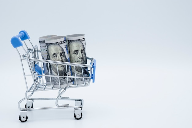 Closeup shopping cart with us dollar banknote on white background.
