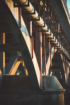 Closeup shot of the arches under the bridge
