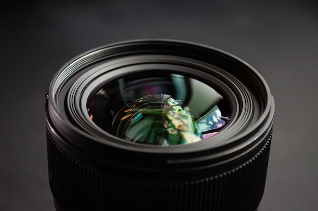 Closeup shot of a black camera lens