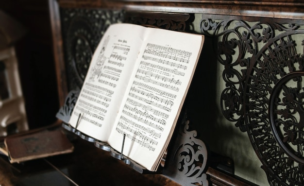Closeup shot of the black and white music sheet on the piano