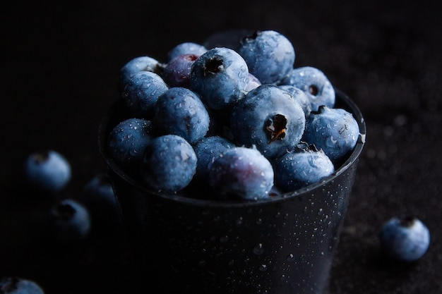Closeup shot of blueberries in a black bowl