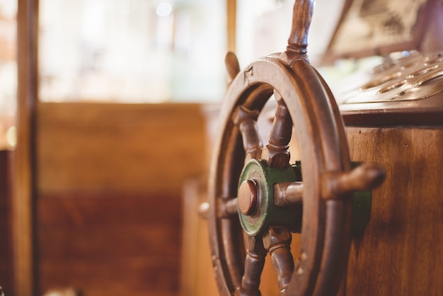Closeup shot of a boat steering wheel