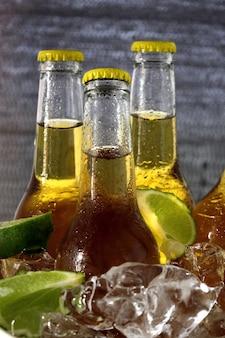 Colpo del primo piano di bottiglie di birra con ghiaccio e fette di lime
