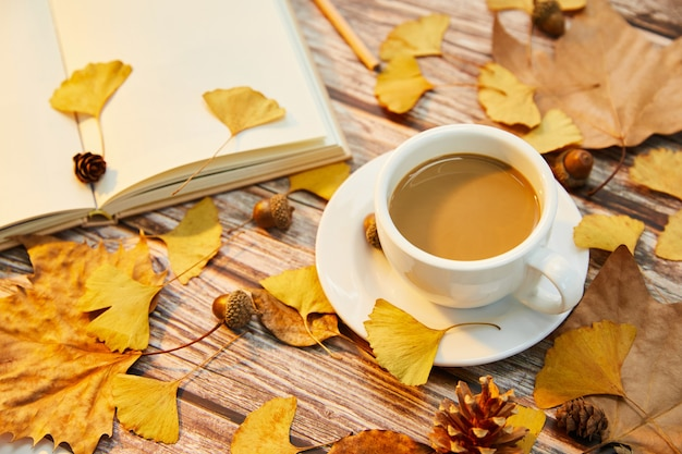 Closeup shot of a cup of coffee and autumn leaves on wooden surface