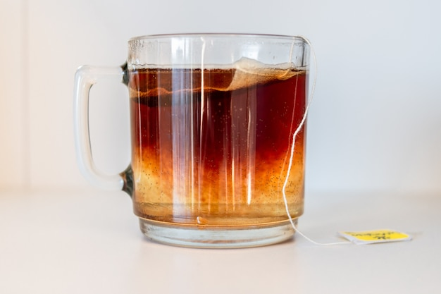 Closeup shot of a cup of tea isolated