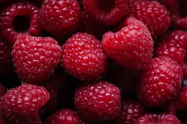 Closeup shot of delicious raspberries