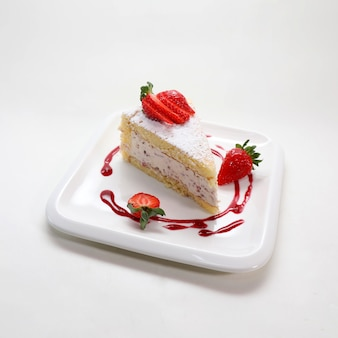 Closeup shot of a delicious strawberry cake in a plate