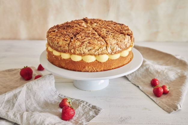 Closeup shot of delicious vanilla cream cake