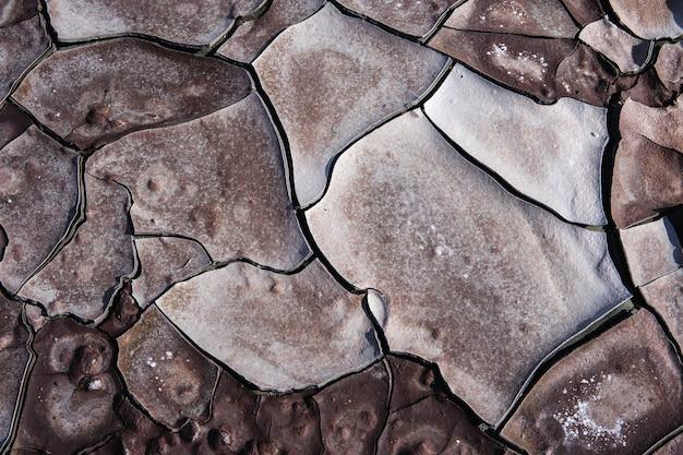 Closeup shot of a dry soil near the pond