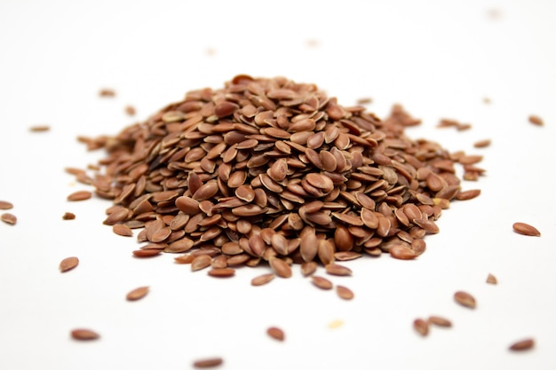Closeup shot of flax seeds on a white surface