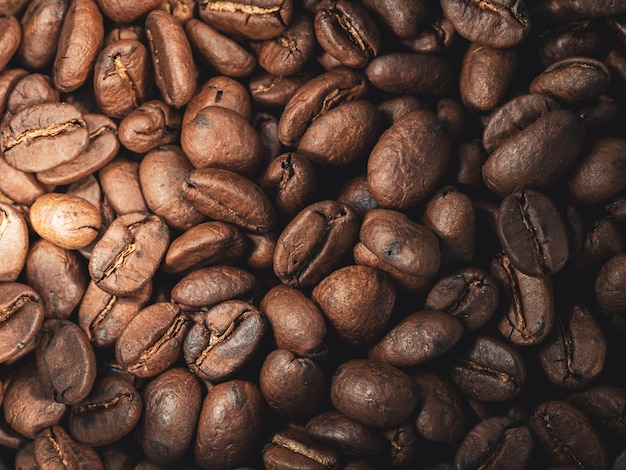 Closeup shot of fresh brown coffee beans