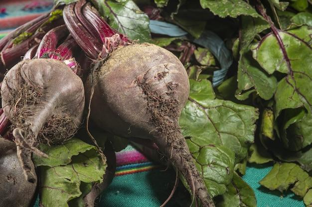 Closeup shot of fresh organic beets