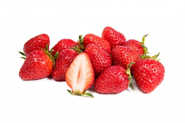 Closeup shot of fresh strawberries. isolated on white.