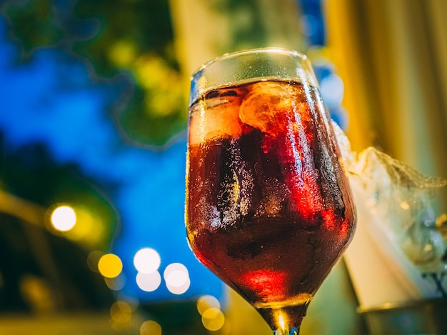 Closeup shot of a glass of wine