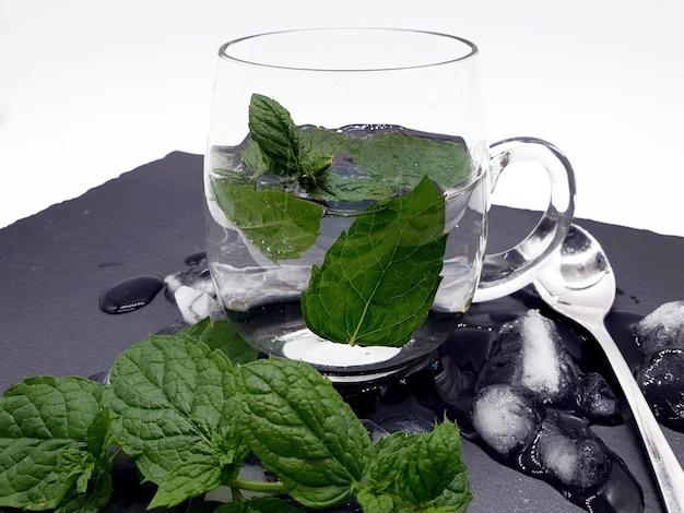 Closeup colpo di vetro con acqua e menta fresca su ghiaccio