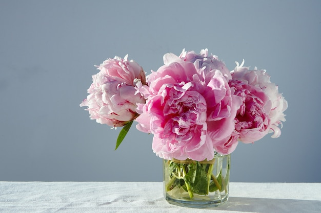 Closeup shot of gorgeous pink peonies in a short glass jar on gray table