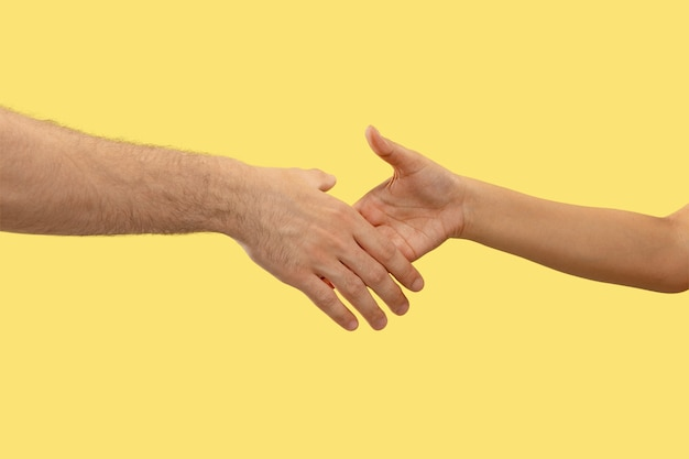 Closeup shot of human holding hands isolated on yellow