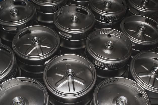 Closeup shot of metal beer kegs