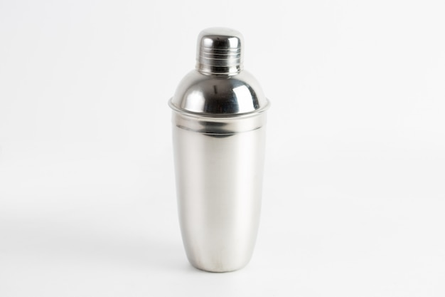 Closeup shot of a metal water bottle isolated
