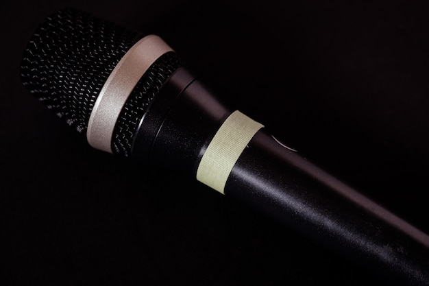 Closeup shot of a microphone on black