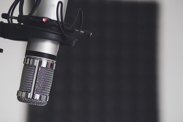 Closeup shot of a microphone in a room