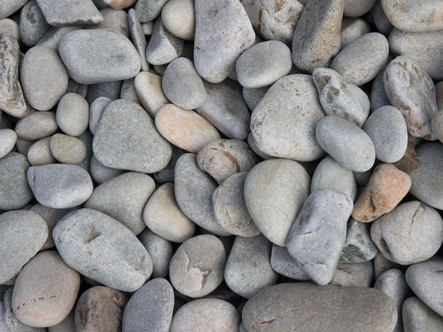 Closeup shot of mixed beach pebble stones