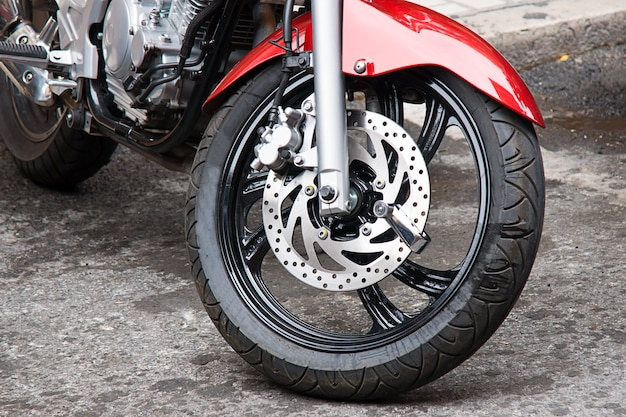 Closeup shot of a motorbike's wheel