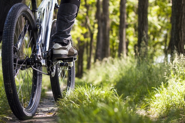 森の中の自転車のタイヤのクローズアップショット
