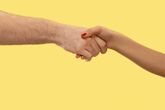 孤立した手を握って人間のクローズアップショット。人間関係、友情、パートナーシップの概念。コピースペース。