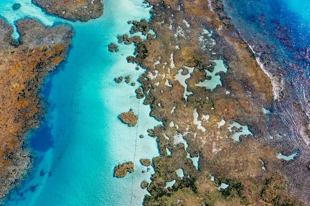 Снимок крупным планом островов и океана на 3d-карте на холсте