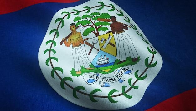 興味深いテクスチャとベリーズの国旗のクローズアップショット